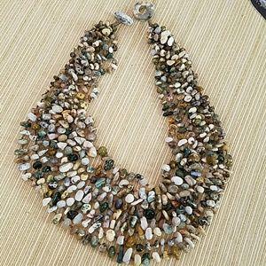 Luscious 8 Strand Stones Necklace Jasper Agate